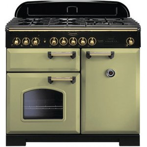 Rangemaster 114770 100cm Classic Deluxe Dual Fuel Olive Green Brass Tr