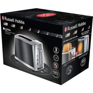 Russell Hobbs 23221 Luna 2 Slice Toaster In Grey High Lift Feature