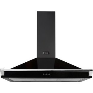 Stoves 444410243 90cm Richmond Chimney Hood In Black With Chrome Rail