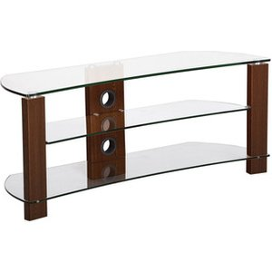 Ttap L640 1400 3w Vision Curve 1400mm Tv Stand In Walnut With Clear Glass Brown