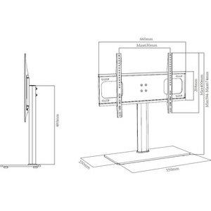 Ttap Tt64f Black Glass Tabletop Pedestal Tv Stand In Black