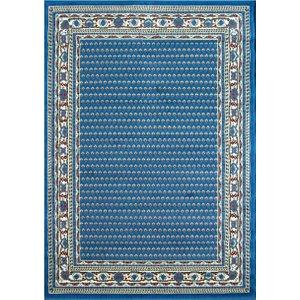 Kensington Blue Bordered Traditional Living Room Rugs - 185cm X 270cm (6ft 1 X 9ft)  L Kensington 157 Blue 8115 Flooring & Carpeting, Blue Rugs