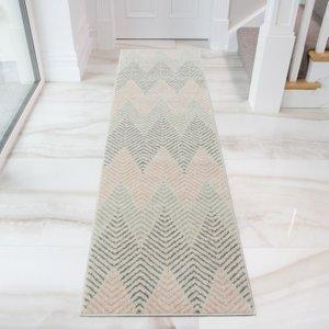 Blush & Grey Herringbone Hall Runner Rug - Bombay 60x240  RR Bombay Massari Blush 9324 Flooring & Carpeting, Pink Rugs, Grey Rugs