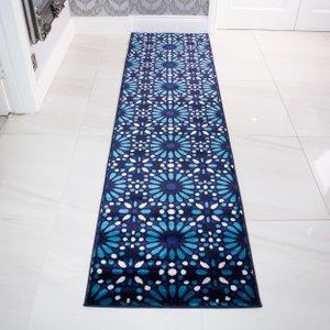 Contemporary Blue Mosiac Geometric Hall Runner Rug - Tangier 80x240cm  RRL Tangier Tile Teal 8992 Flooring & Carpeting, Blue Rugs