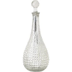 Libra Contemporary Glass Teardrop Decanter Stylish Antique Silver Decorative Wine Jar  161484   Sariska Medium Hour Decanter House Accessories,