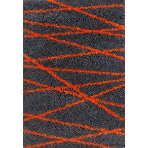 Graphite & Orange Geometric Shaggy Rug - Helsinki 80x150  S Helsinki Zigzag Graphite 1812 Flooring & Carpeting, Grey Rugs, Orange Rugs