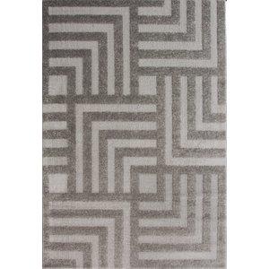 Graphite Grey Geometric Maze Living Room Rugs - Savoy 160x230  R Savoy Deco Grey 8093 Flooring & Carpeting, Grey Rugs