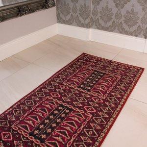 Kensington Red Hallway Runner Rug 60x225  RR Kensington 583 Red 60X225 Flooring & Carpeting, Brown Rugs
