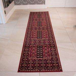 Kensington Red Hallway Runner Rug  RRL Kensington 583 Red 70X340 Flooring & Carpeting, Red Rugs