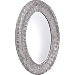 Libra Luxurious Silver Grey Metal Oval Wall Mirrors Decorative Vintage Style Giftware  235253   Pavillion Mirror House Accessories,