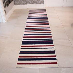 Milan Cream Navy Red Stripe Hallway Runner Rug - 1114-x44  RR 1114 X44 Milan (60x240) Flooring & Carpeting, Blue Rugs, White Rugs