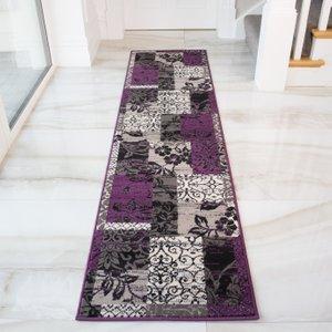Milan Grey Purple Patchwork Runner Rug - 1568-h33  RR 1568 H33 Milan (60x240) Flooring & Carpeting, Purple Rugs