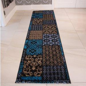 Modern Teal Blue Patchwork Runner Rug Bombay - 60cm X 240cm  RR Bombay FPP06 Teal (60x240) Flooring & Carpeting, Blue Rugs