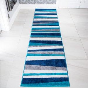 Navy, Teal Blue & Grey Striped Runner Rug - Rio 63x240cm  RR Rio Stripe Teal 7384 Flooring & Carpeting, Blue Rugs, Grey Rugs
