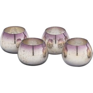 Libra New Glass Set Of 4 Silver Tea Light Holders Romantic Candle Holder Ornaments  164175   Rosehip Set Of 4 Tea Light Holders House Accessories,