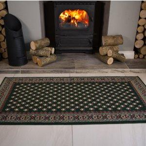 Kensington Stylish Green Victorian Bordered Pattern Rug  S Kensington 483 Green Flooring & Carpeting, Green Rugs