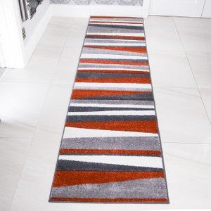 Terra & Grey Striped Runner Rug - Rio 63x240cm  RR Rio Stripe Terra 7421 Flooring & Carpeting, Orange Rugs, Grey Rugs