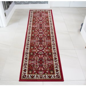 Traditional Red Floral Runner Rug 1170-r55 - 63cm X 240cm  RR 1170 R55 (63x240) Flooring & Carpeting, Red Rugs
