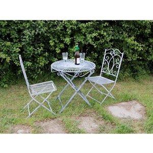 Ascalon Two Seater Grey Bistro Garden Table & Chairs Set  HERITAGE BIRSTO SET 1005 Sheds & Garden Furniture,