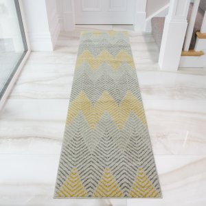 Yellow & Grey Herringbone Hallway Runner Rug - Bombay 60x240  RR Bombay Massari Ochre 9133 Flooring & Carpeting, Yellow & Gold Rugs, Grey Rugs