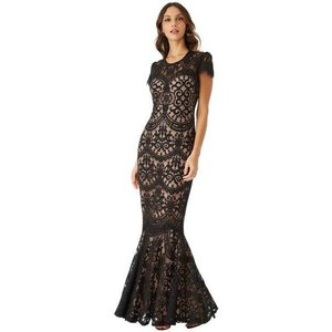 Goddiva Cap Sleeves Lace Maxi Dress - Black Womens Clothing
