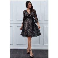 Goddiva - Lace V-neck Midi Dress - Black Womens Clothing