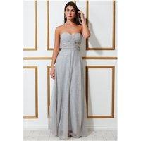 Goddiva Bandeau Sequin & Mesh Maxi Dress - Grey Womens Clothing