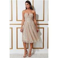 Goddiva Boobtube Sequin Midi Dress - Champagne Womens Clothing
