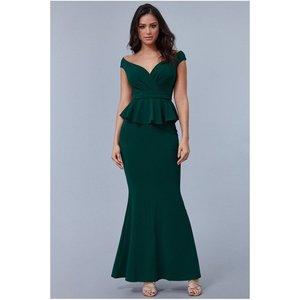 Goddiva Cross Over Peplum Maxi Dress - Emerald Womens Clothing