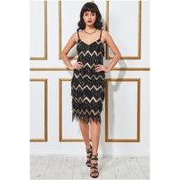 Goddiva Dangling Sequin Flapper Midi Dress - Black Womens Clothing