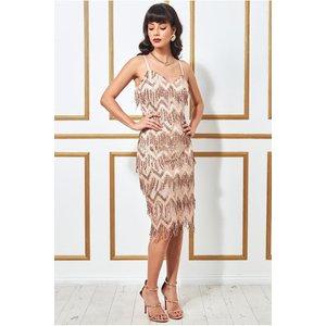 Goddiva Dangling Sequin Flapper Midi Dress - Gold Womens Clothing