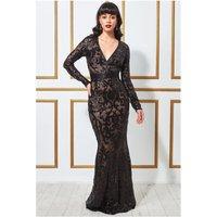 Goddiva Embroidered Sequin & Mesh Maxi Dress - Black Womens Clothing