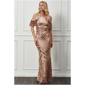 Goddiva Fringe Collar Sequin Maxi Dress - Champagne Womens Clothing