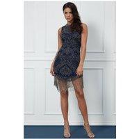 Goddiva Fringe Hem Embellished Mini Dress - Navy Womens Clothing