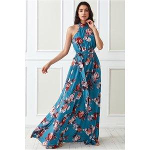 Goddiva High Collar Halter Printed Maxi Dress - Tealfloral Womens Clothing