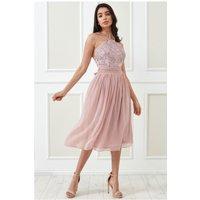 Goddiva Lace Halter Neck Chiffon Midi Skirt Dress - Blush Womens Clothing