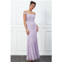 Goddiva Off The Shoulder Embroidered Sequin Maxi Dress - Lavender Womens Clothing