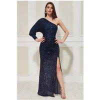 Goddiva One Sleeve Sequin Maxi Dress - Navy Womens Clothing