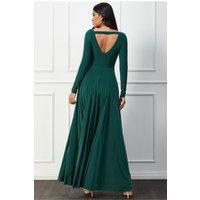 Goddiva Plunge V-neck Pleated Skirt Maxi Dress - Botanicalgreen Womens Clothing