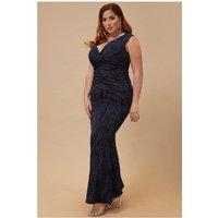 Goddiva Plus Glitter Maxi Dress With Pleated Waist - Navy Womens Clothing