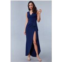 Goddiva Scuba Crepe Frill Maxi Dress - Navy Womens Clothing