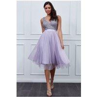 Goddiva Sequin Bodice Pleated Midi Dress - Lavender Womens Clothing
