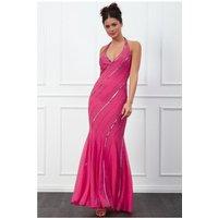 Goddiva Sequin Halter Neck Maxi Dress - Cerise Womens Clothing