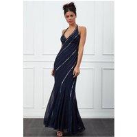 Goddiva Sequin Halter Neck Maxi Dress - Navy Womens Clothing