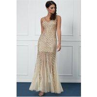 Goddiva Sequin Starshine Evening Maxi Dress - Gold Womens Clothing