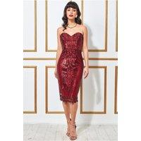 Goddiva Sweetheart Neck Embroidered Sequin Midi Dress - Wine Womens Clothing
