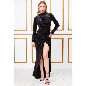 Goddiva Velvet High Collar Wrap Dress - Black Womens Clothing