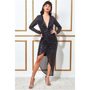 Goddiva Wrap Over Asymmetric Sequin Maxi Dress - Peacock Womens Clothing