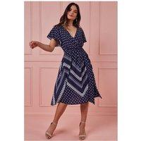 Goddiva Wrap Style Flutter Sleeve Printed Midi Dress- Navy Womens Clothing