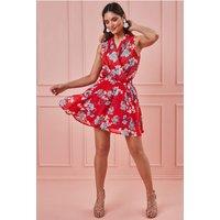 Goddiva Wrap Style Sleeveless Floral Midi Dress - Red Womens Clothing